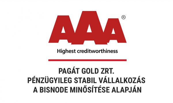 Pagát AAA Bisnode minősítés